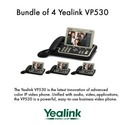 """Yealink VP530 Bundle of 4 Business Video Phone 7"""" Touchscreen 4 VoIP Account"""