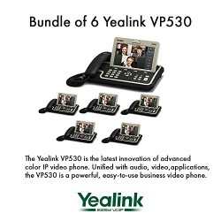 """Yealink VP530 Bundle of 6 Business Video Phone 7"""" Touchscreen 4 VoIP Account"""