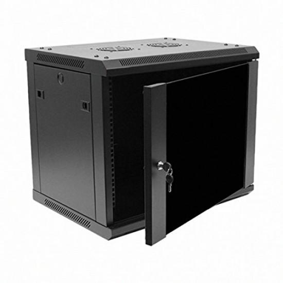 Navepoint 9U Deluxe IT Wallmount Cabinet Enclosure 19-Inch Server Network Rack With Locking Glass Door 16-Inches Deep Black