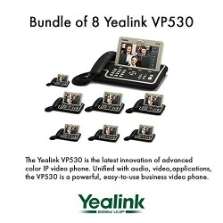 """Yealink VP530 Bundle of 8 Business Video Phone 7"""" Touchscreen 4 VoIP Account"""