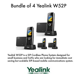 Yealink W52P Bundle of 4 Business HD IP DECT Phone 5-Line POE 10 Hour Talk Time