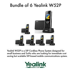Yealink W52P Bundle of 6 Cordless Phone for business solutions up to 5 VoIP Acct