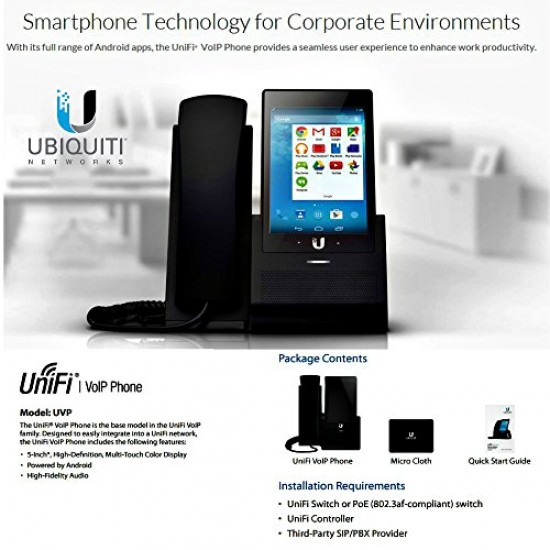 "1 - UniFi VoIP Phone w/ 5"" touchscreen,hands"