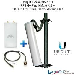 Ubiquiti RocketM5 X1 + RPSMA Plug NMale X2 + 5.8GHz 17dBi Dual Sector Antenna X1