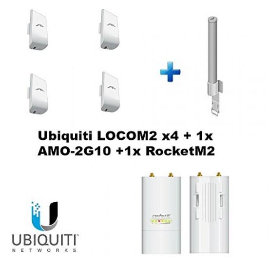 Ubiquiti LOCOM2 bundle of 4 with 1x AMO-2G10 + 1x RocketM2