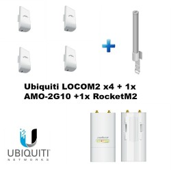 Ubiquiti LOCOM2 bundle of 4 with 1x AMO-2G10 + 1x RocketM2