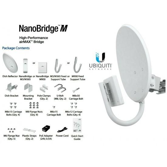 UBIQUITI NETWORKS NBM900 Ubiquiti NanoBridge M9, 900MHz NBM9 AirMax NBM900 complete anten PatentPending InnerFeed Antenna Technology