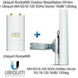 Ubiquiti RocketM5 Outdoor BaseStation 50+km + AM-5G16-120 5GHz Sector 16dBi 120