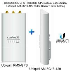Ubiquiti RM5-GPS RocketM5 GPS M5GPS + AM-5G16-120 5GHz AirMax Sector 16dBi 120