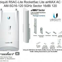 Ubiquiti R5AC-Lite Rocket5ac Lite airMAX AC + AM-5G16-120 5GHz Sector 16dBi 120