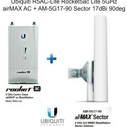 Ubiquiti R5AC-Lite Rocket5ac Lite 5GHz airMAX AC + AM-5G17-90 Sector 17dBi 90deg