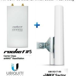 Ubiquiti RocketM5 Rocket M5 5.8GHz + AM-5G17-90 5.8GHz AirMax Sector 17dBi 90deg