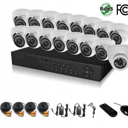 HDView 20CH Tribrid: 16 Channel DVR + 4 Channel NVR, 2.4MP 1080P HD Megapixel Security Camera Surge-Protection HD-AHD DVR Kit, 16 x 2.4MP 1080P infrared cameras Package System