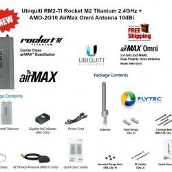 Ubiquiti RM2-Ti Rocket M2 Titanium 2.4GHz + AMO-2G10 AirMax Omni Antenna 10dBi