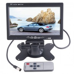7MONITOR •  With 7 inch LED backlight color TFT LCD display monitor.•  With 2 AV input. AV1 connects to car DVD, VCR